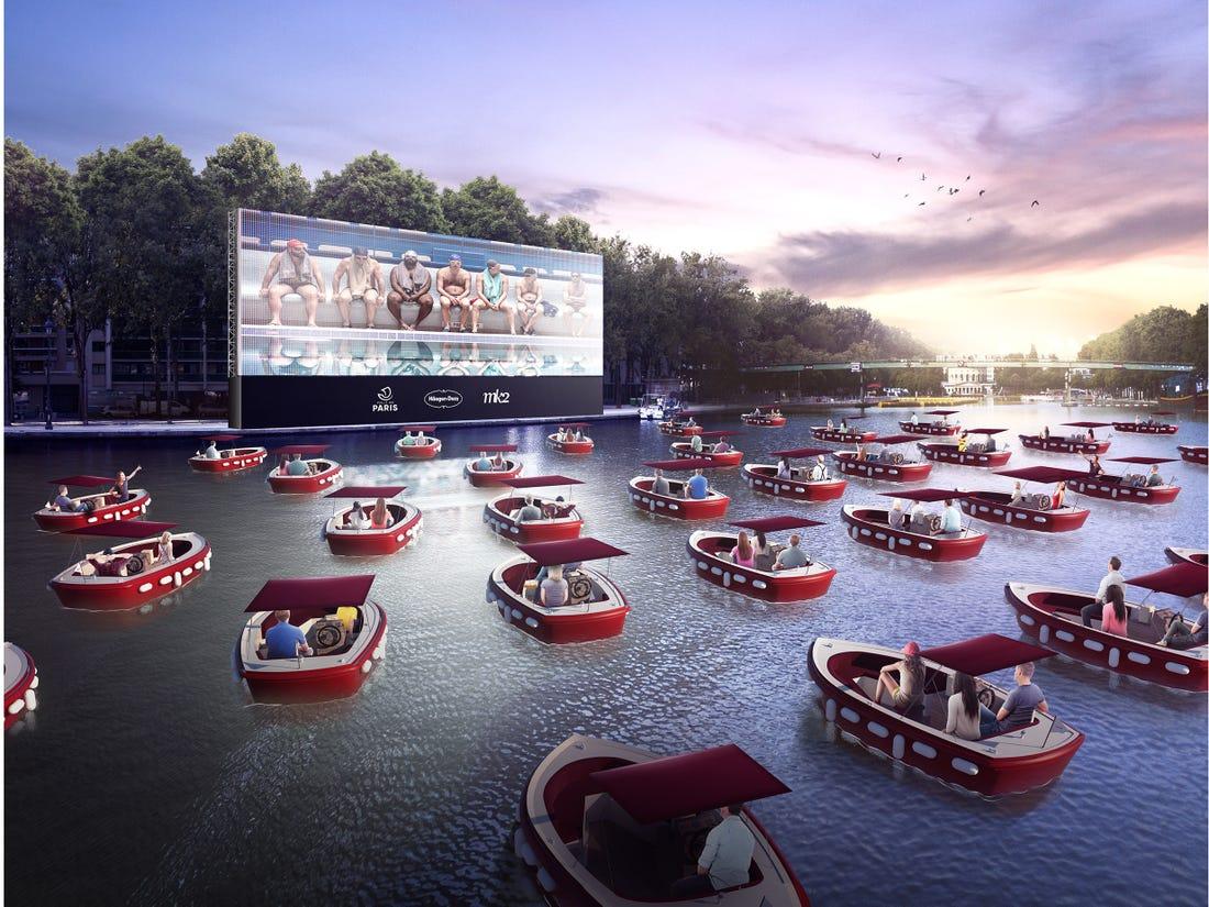 Parisians Enjoy Floating Cinema On The Seine River